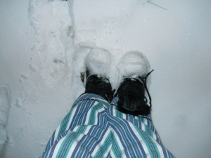 P J's, snow boots (not tied)...and snow...yes...snow...at midnight!