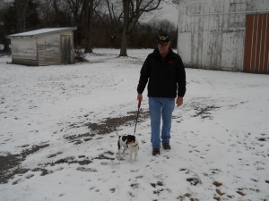 Poppy and Nella enjoy the morning walk in the snow!