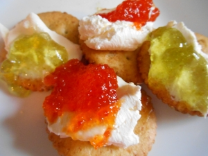 Hot & Sweet Pepper Jelly...on a cracker